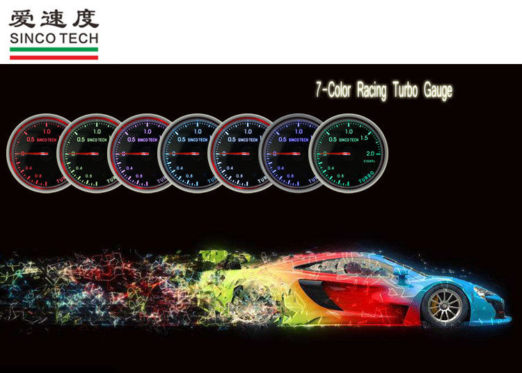 Single Pointer Turbo Boost Gauge 7 Color High Accuracy 60 Mm Size ISO 9001 Approved